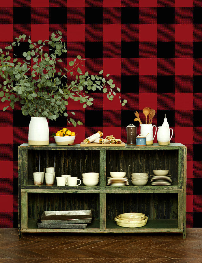 Checkered removable wallpaper lumberjack