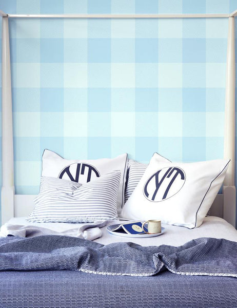 Check, Baby, Check - soft blues wallpaper roll - Wallshoppe