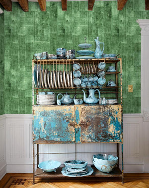 Lafayette Patchwork Green  Wallpaper