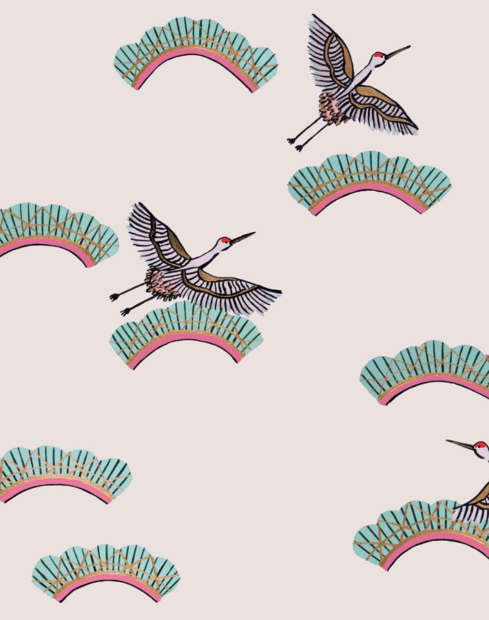 Cranes In Clouds - Oyster Wallpaper by Carly Beck - Wallshoppe Removable & Traditional Wallpaper