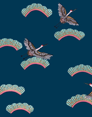 Cranes In Clouds - Peacock Wallpaper by Carly Beck - Wallshoppe Removable & Traditional Wallpaper
