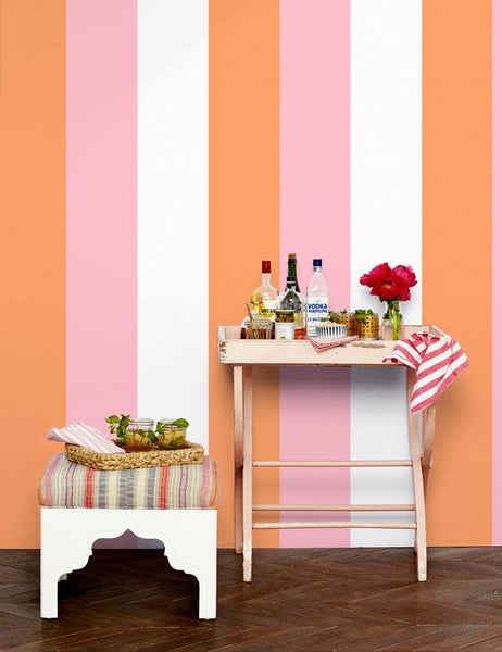 Cross the Line - creamsicle /pink wallpaper roll - Wallshoppe