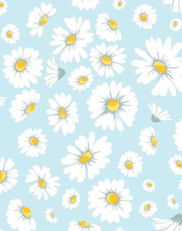 Daisy Bloom Baby Blue Traditional + Peel & Stick Wallpaper