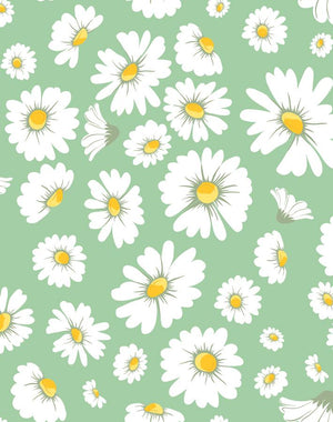 Daisy Bloom Green  Wallpaper