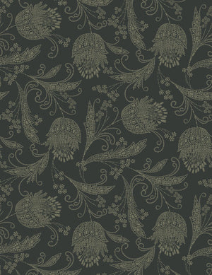 Eleanor Rigby Charcoal Umber  Wallpaper