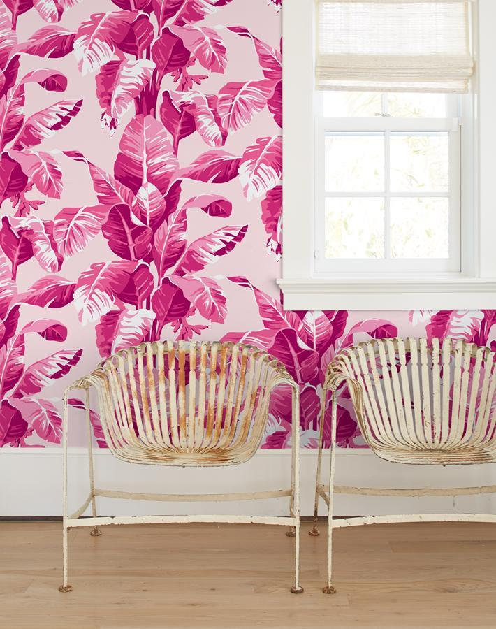 Electric Palm Pink Traditional Peel Stick Wallpaper