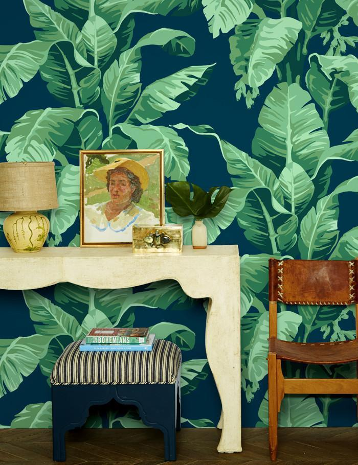 Pacifico Palm By Nathan Turner / Indigo / Wallshoppe  Wallpaper