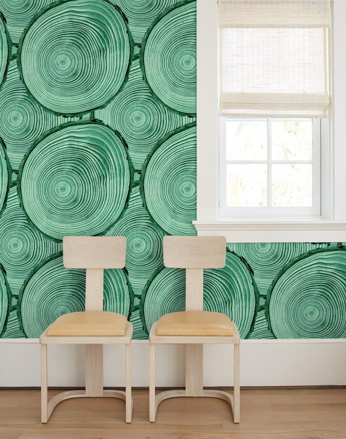 Faux Bois Hunter Green  Wallpaper