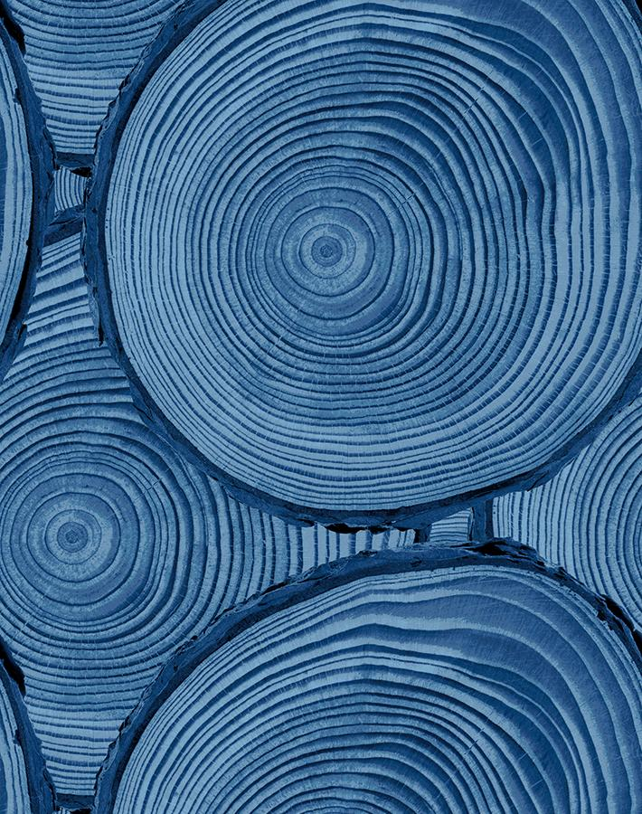 Faux Bois Blue  Wallpaper