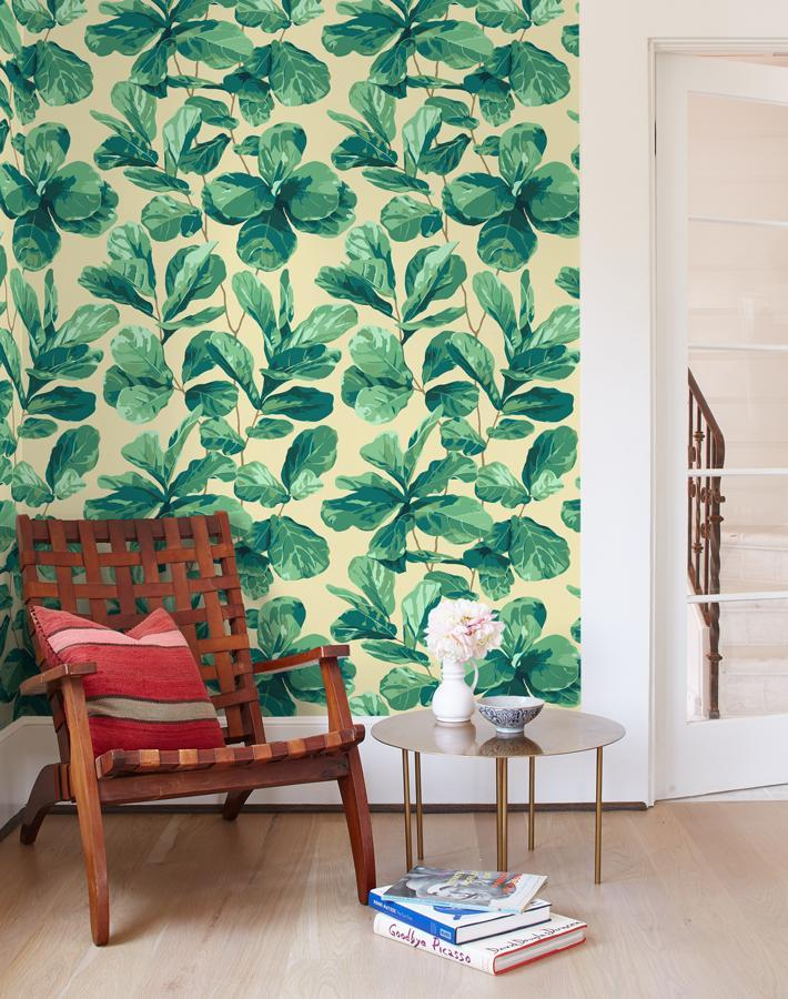 Fiddle Fig Beige  Wallpaper