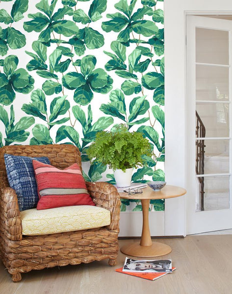 Fiddle Fig White Wallpaper
