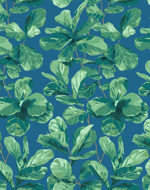 Fiddle Fig Cadet Blue  Wallpaper