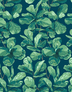 Fiddle Fig Indigo  Wallpaper