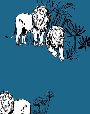 Foliage Lions Cadet Blue  Wallpaper