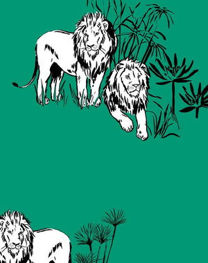 Foliage Lions Emerald  Wallpaper