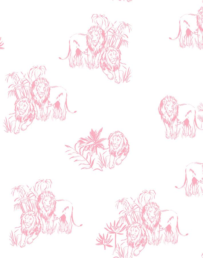 Foliage Lions Pink  Wallpaper