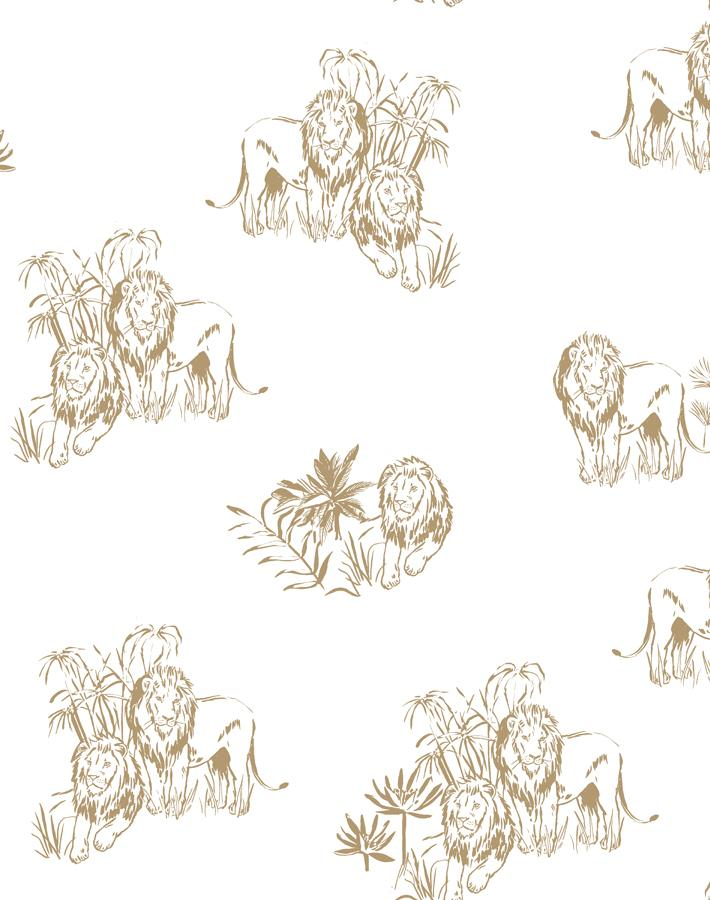 Foliage Lions White  Wallpaper