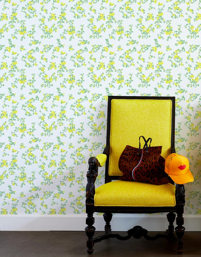 francoise floral wallpaper yellow spring green
