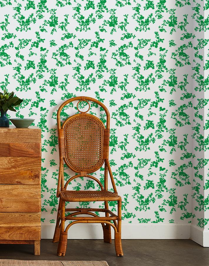 francoise floral wallpaper green on white