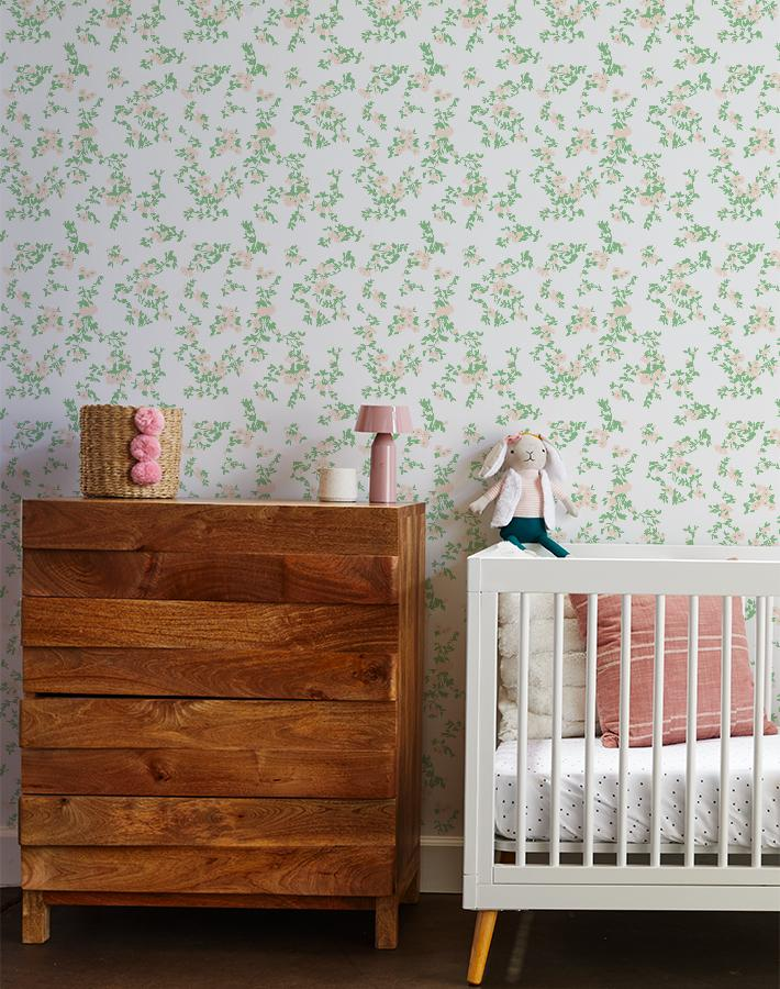francoise floral wallpaper peach spring green