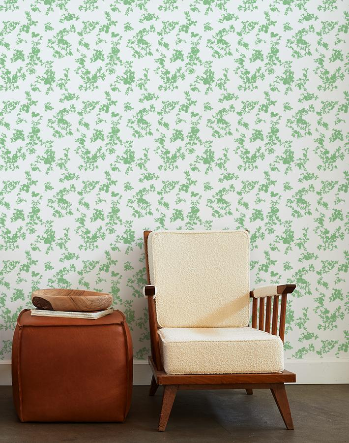 francoise floral wallpaper spring green on white