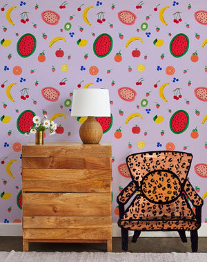 Fruit Punch - Lavender Wallpaper by Carly Beck - Wallshoppe Removable & Traditional Wallpaper