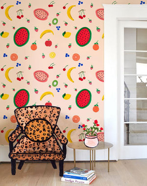 Fruit Punch - Peach Wallpaper by Carly Beck - Wallshoppe Removable & Traditional Wallpaper