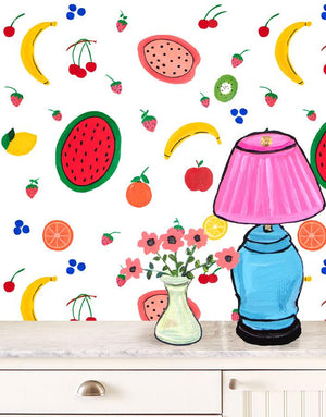 Fruit Punch - White Wallpaper by Carly Beck - Wallshoppe Removable & Traditional Wallpaper