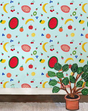 Fruit Punch - Blue Tint Wallpaper by Carly Beck - Wallshoppe Removable & Traditional Wallpaper