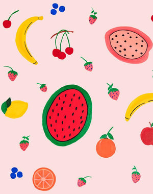 Fruit Punch - Pink Wallpaper by Carly Beck - Wallshoppe Removable & Traditional Wallpaper