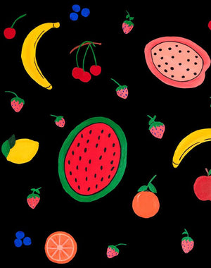 Fruit Punch - Black Wallpaper by Carly Beck - Wallshoppe Removable & Traditional Wallpaper