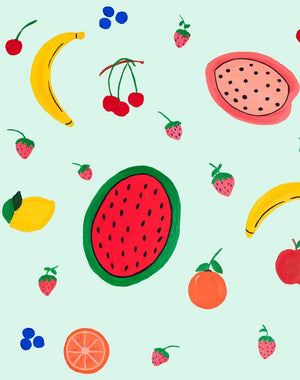 Fruit Punch - Robins Egg Wallpaper by Carly Beck - Wallshoppe Removable & Traditional Wallpaper