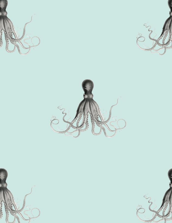 George The Octopus Seafoam  Wallpaper