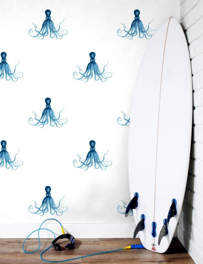 George The Octopus Blue  Wallpaper