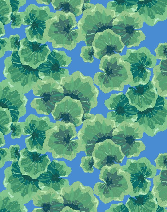 Geranium Leaves Cerulean  Wallpaper