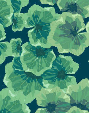 Geranium Leaves Indigo  Wallpaper
