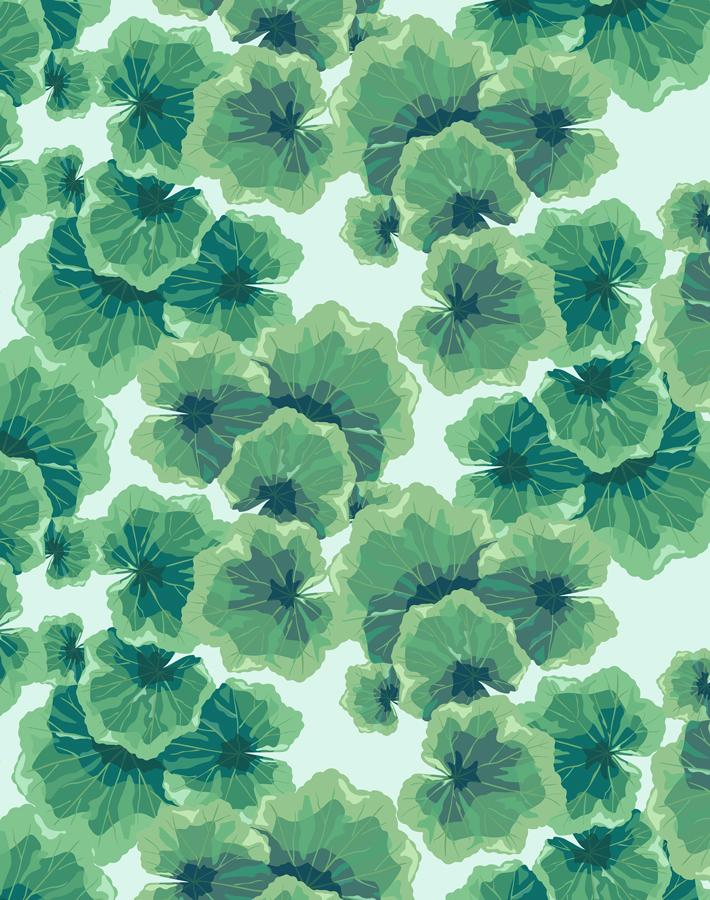 Geranium Leaves Robins Egg  Wallpaper