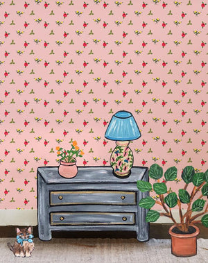 Grand Villa Garden - Pink Wallpaper by Carly Beck - Wallshoppe Removable & Traditional Wallpaper
