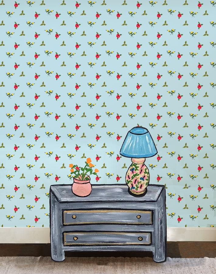 Grand Villa Garden - Sky Wallpaper by Carly Beck - Wallshoppe Removable & Traditional Wallpaper