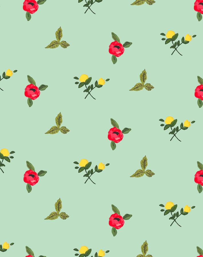 Grand Villa Garden - Aventurine Wallpaper by Carly Beck - Wallshoppe Removable & Traditional Wallpaper