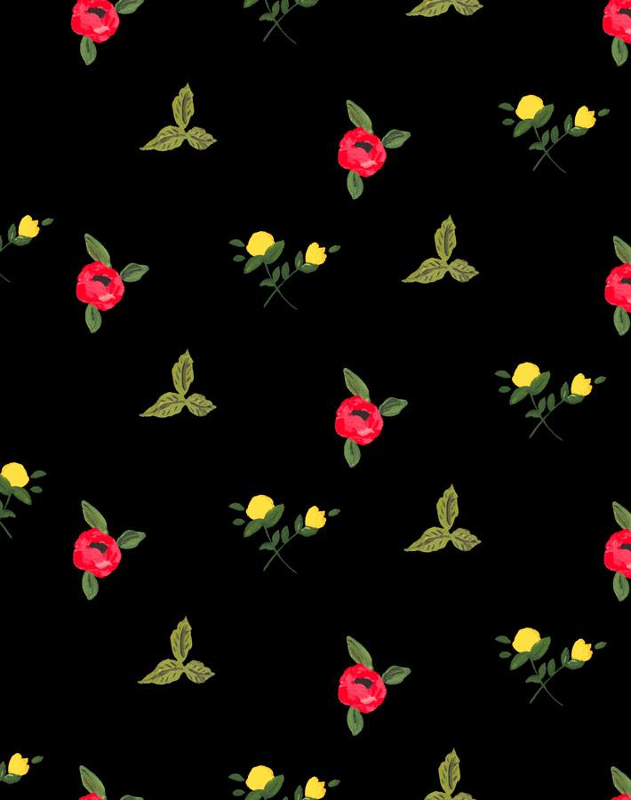 Grand Villa Garden - Black Wallpaper by Carly Beck - Wallshoppe Removable & Traditional Wallpaper