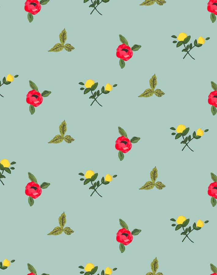 Grand Villa Garden - Ocean Wallpaper by Carly Beck - Wallshoppe Removable & Traditional Wallpaper