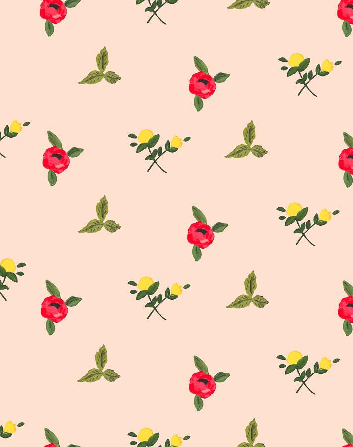 Grand Villa Garden - Peach Wallpaper by Carly Beck - Wallshoppe Removable & Traditional Wallpaper