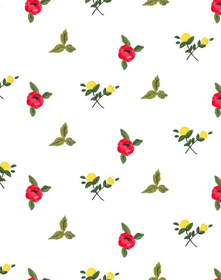 Grand Villa Garden - White Wallpaper by Carly Beck - Wallshoppe Removable & Traditional Wallpaper