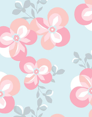Graphic Flower Pale Blue  Wallpaper