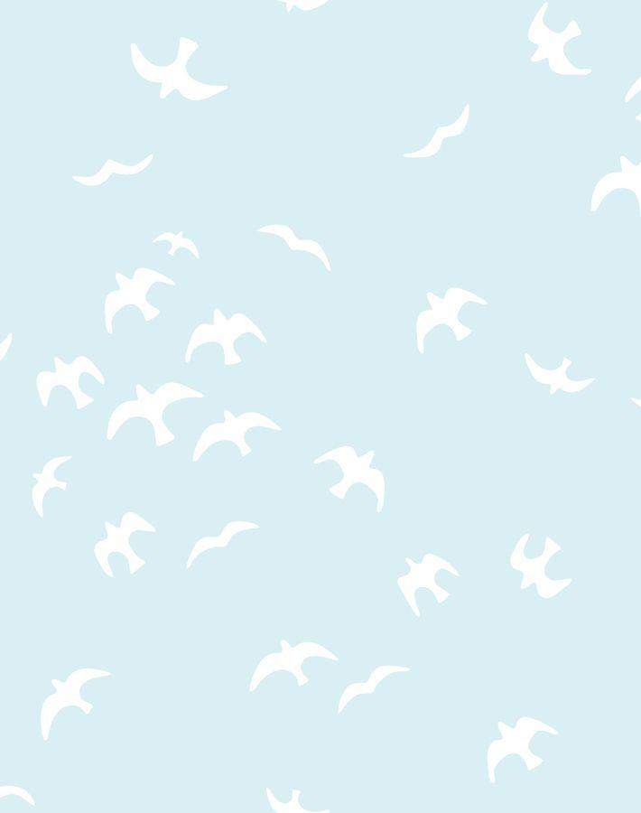 Gulls Pale Blue Wallpaper