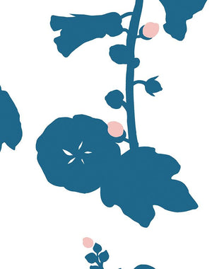 Hollyhock Cadet Blue  Wallpaper