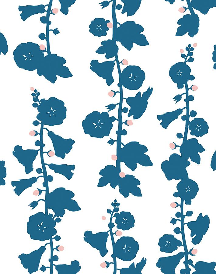 Hollyhock Floral Wallpaper by Clare Vivier