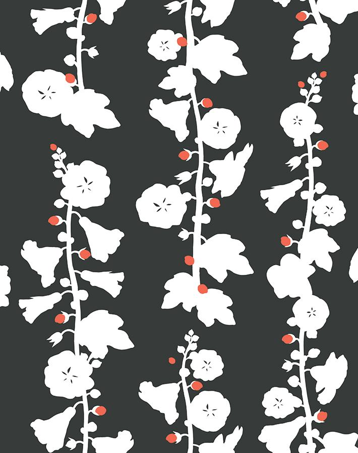 Hollyhock Charcoal Wallpaper