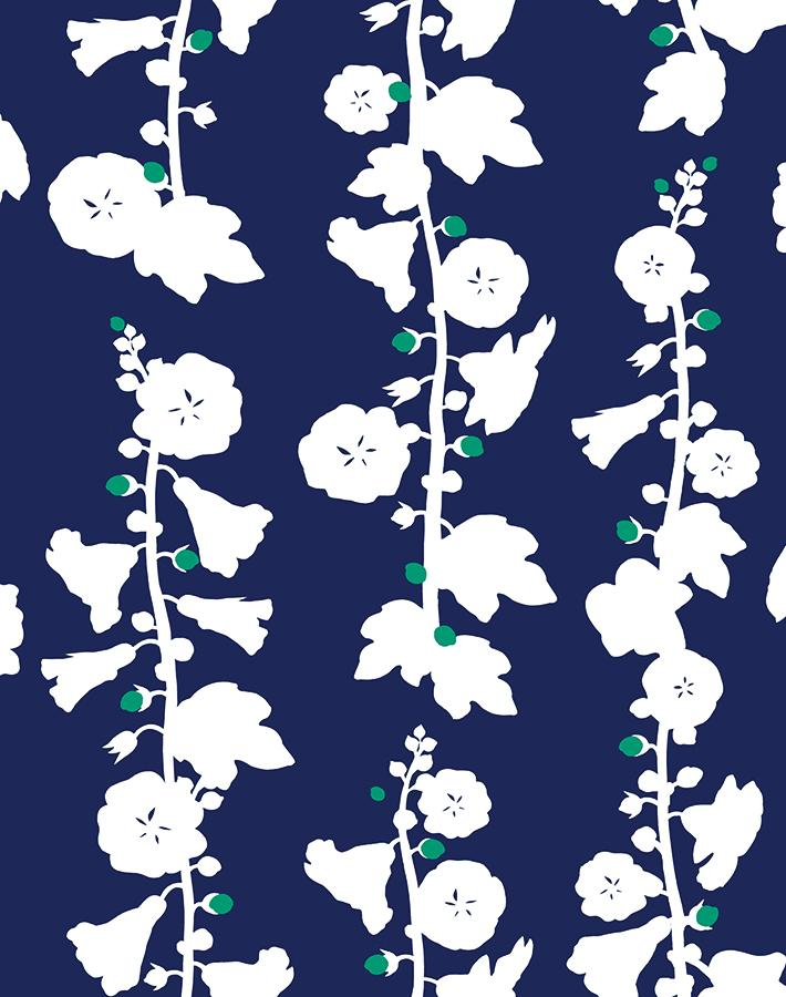 Hollyhock Navy Teal  Wallpaper